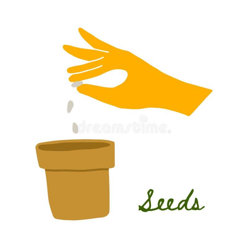 Ejemplo de WebVector de una mano en un guante de goma amarillo que planta las semillas en un pote ilustración del vector