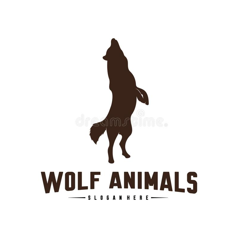 Ejemplo de Wolf Abstract Logo Design Vector Wolf Logo Template Estilo plano simple S?mbolo del icono libre illustration