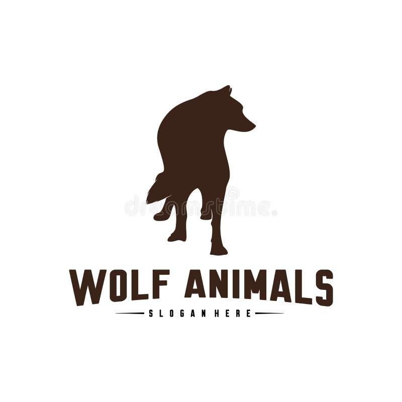 Ejemplo de Wolf Abstract Logo Design Vector Wolf Logo Template Estilo plano simple S?mbolo del icono stock de ilustración