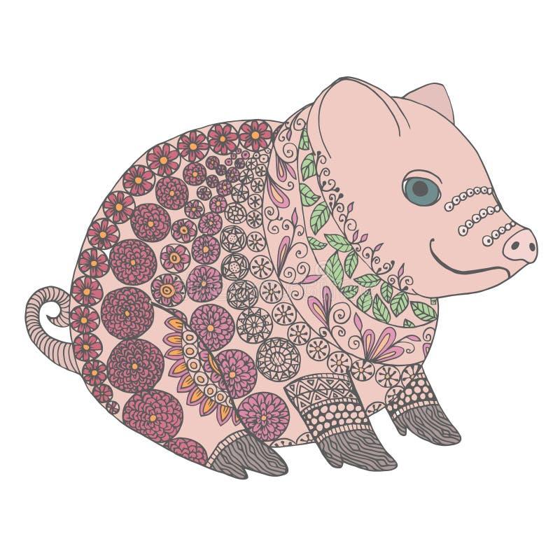 Ejemplo de Zentangle con la cerda Verraco del enredo o del garabato del zen pequeño Cerdo del libro de colorear libre illustration