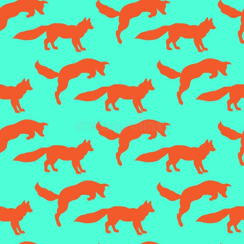 Ejemplo de zorros Jugar animales Naturaleza salvaje Modelo inconsútil stock de ilustración