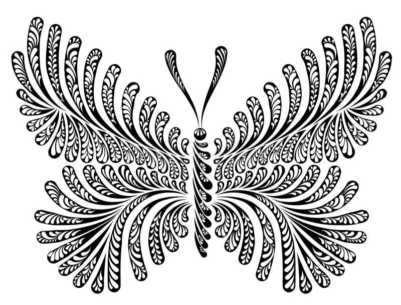 Ejemplo decorativo del vector de la mariposa stock de ilustración