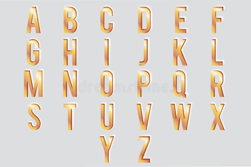 Ejemplo decorativo del vector del diseño del texto de la tipografía 3d del alfabeto de las letras 3d del ABC del metall del oro d stock de ilustración