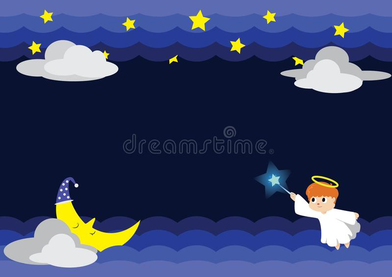 Ejemplo del ángel en la noche con Stars&Moon fotografía de archivo