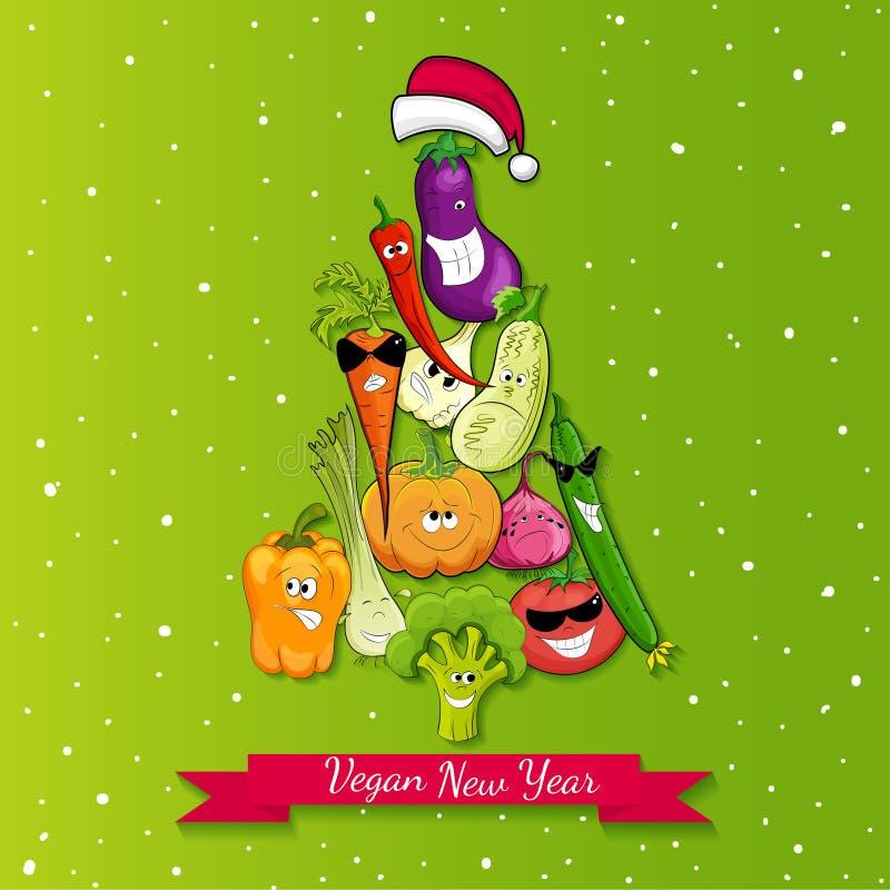 Ejemplo del árbol del Año Nuevo del vegano libre illustration