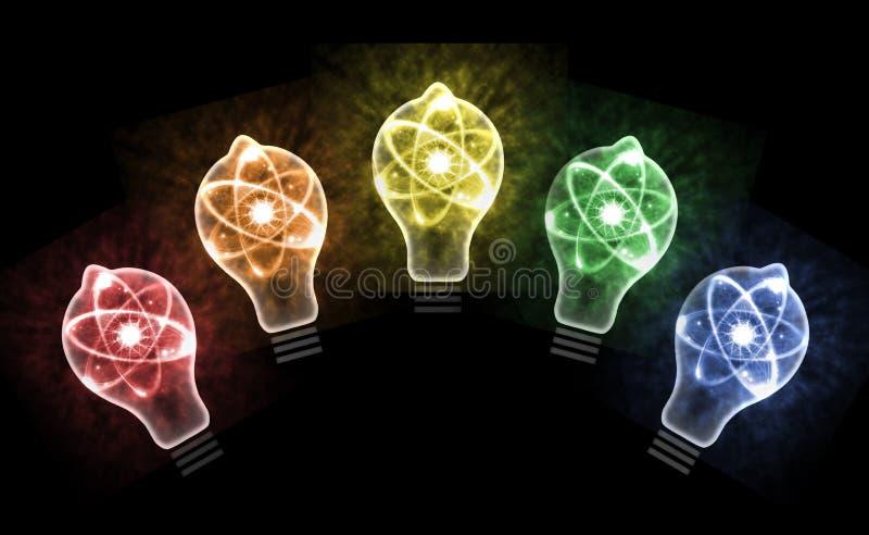 Ejemplo del átomo 3D de la bombilla stock de ilustración