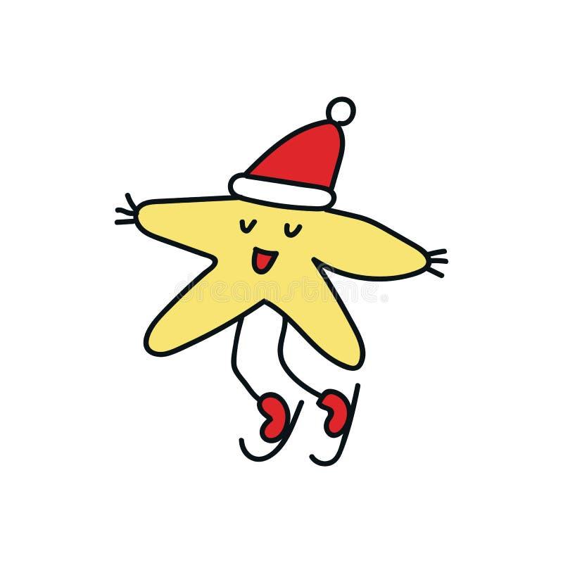 Ejemplo del Año Nuevo con el carácter de la estrella de la Navidad en el sombrero de Papá Noel y con las decoraciones ejemplo del stock de ilustración