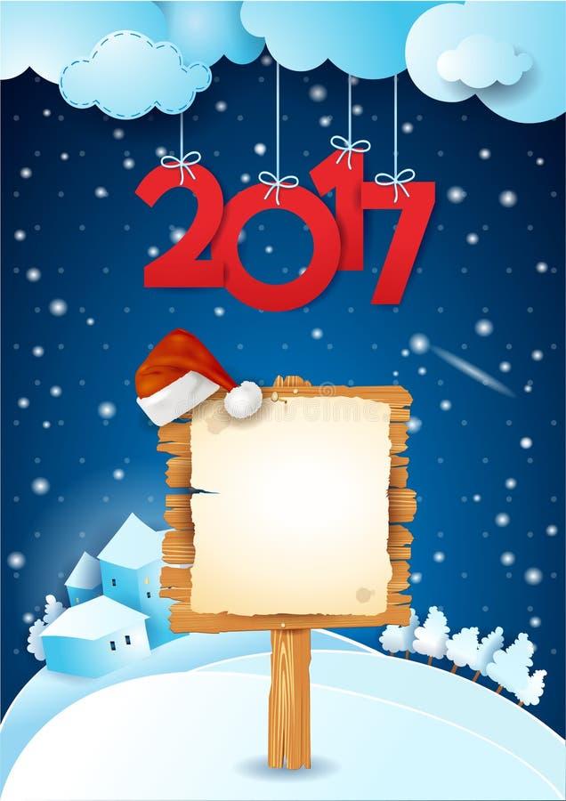 Ejemplo del Año Nuevo con el texto y muestra en fondo nevoso ilustración del vector