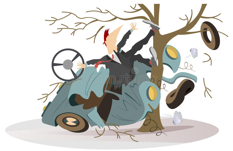 Ejemplo del accidente de carretera stock de ilustración