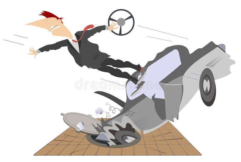 Ejemplo del accidente de carretera, del coche y de la boca de la alcantarilla libre illustration