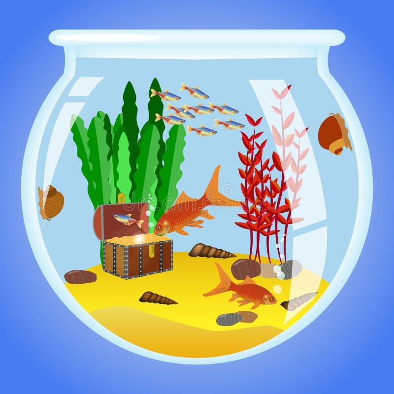 Ejemplo del acuario con los pescados, las algas y las decoraciones ilustración del vector