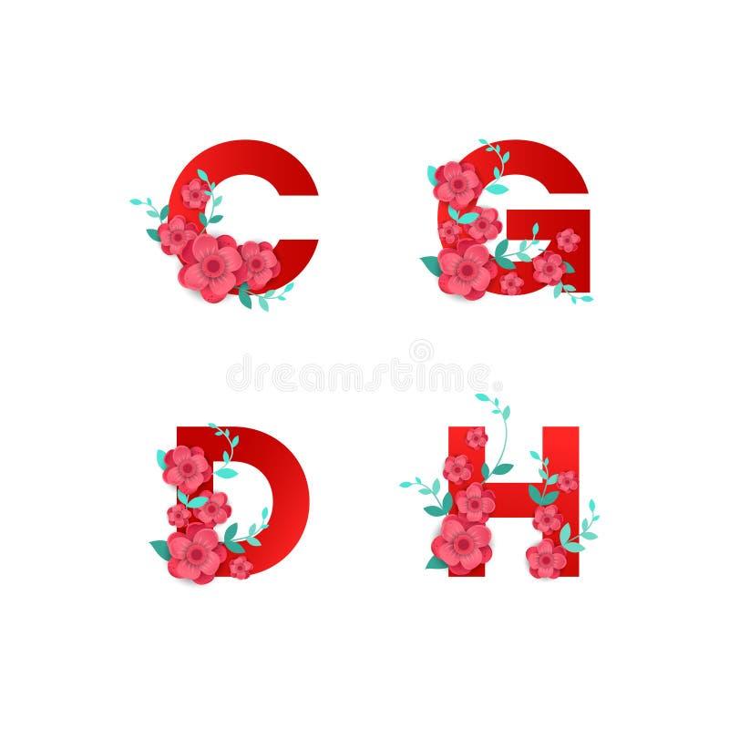 Ejemplo del alfabeto de I hecho por las hojas de las flores ilustración del vector