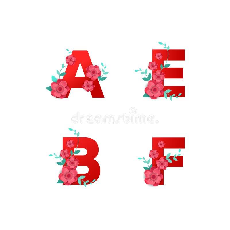 Ejemplo del alfabeto de I hecho por las hojas de las flores stock de ilustración