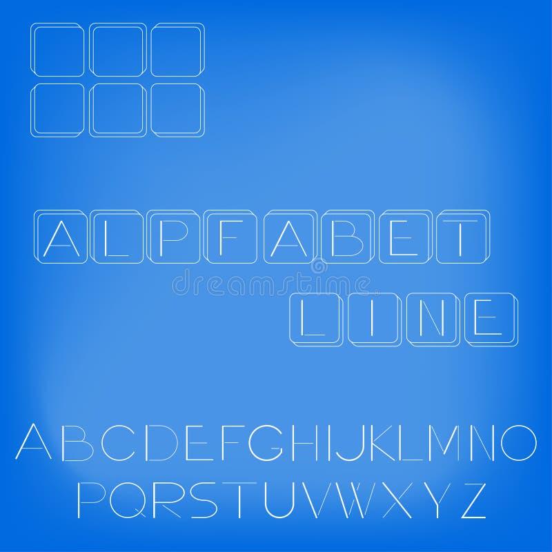 Ejemplo del alfabeto en un estilo linear foto de archivo
