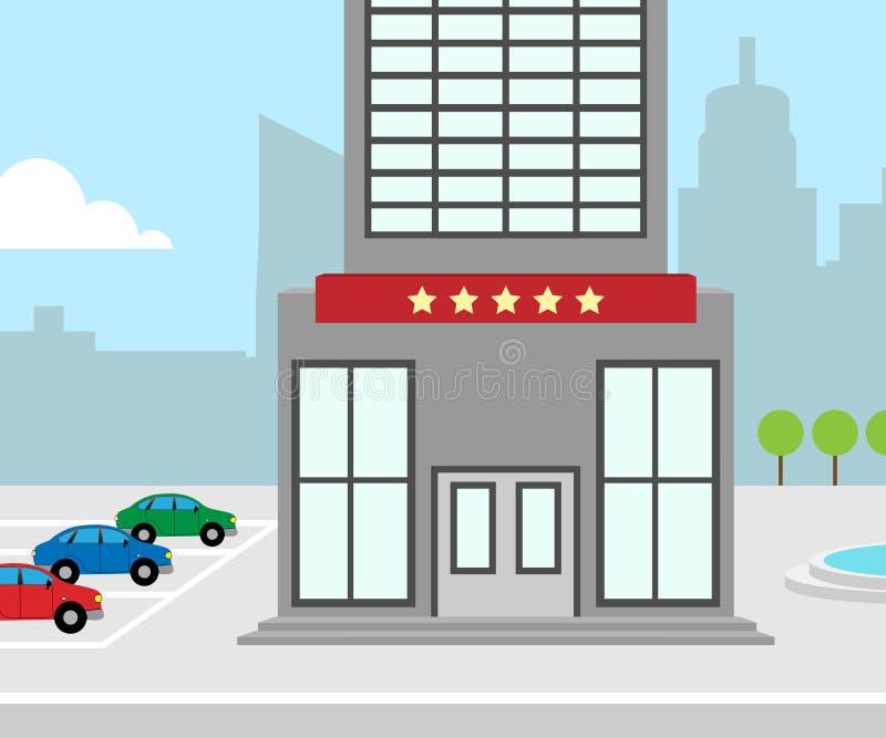 Ejemplo del alojamiento 3d de la ciudad del significado de las vacaciones del hotel ilustración del vector