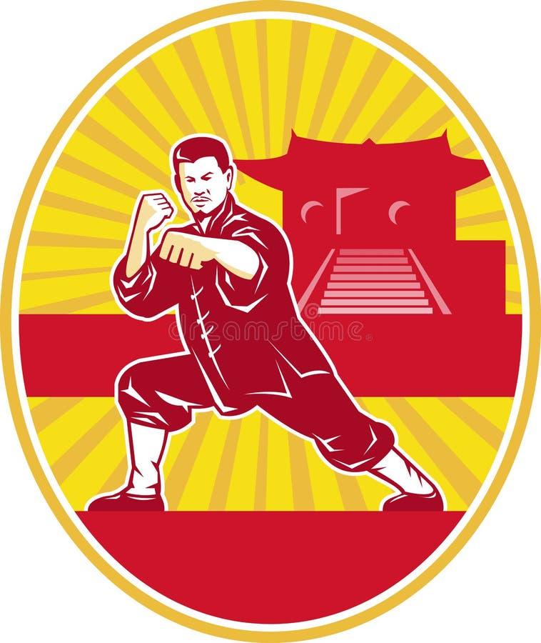 Amo de los artes marciales de Shaolin Kung Fu retro ilustración del vector