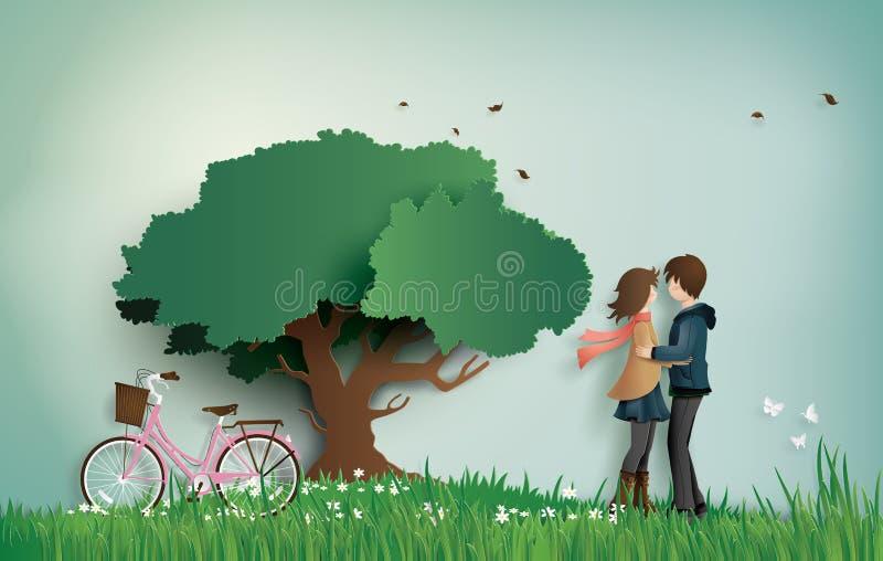 Ejemplo del amor y del día del ` s de la tarjeta del día de San Valentín, con los pares colocándose de abrazo en un campo de hier stock de ilustración