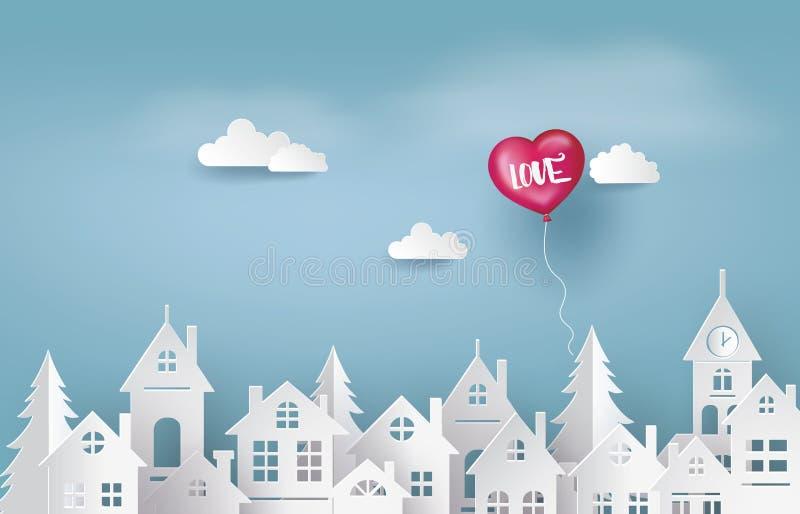Ejemplo del amor y de Valentine Day, forma del corazón del globo stock de ilustración