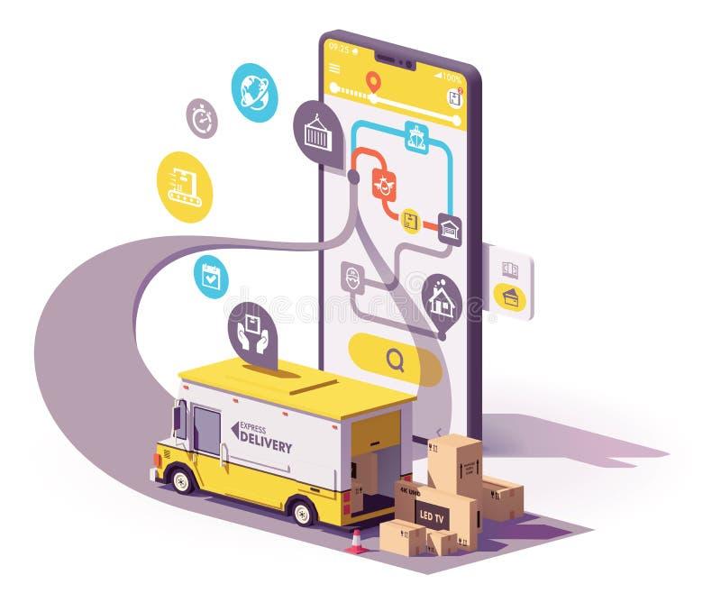 Ejemplo del app del servicio de entrega del vector stock de ilustración