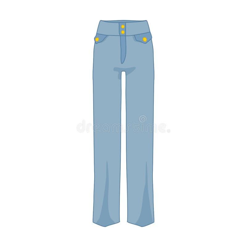 Ejemplo del artículo del estilo de la moda de los pantalones del dril de algodón de la cintura alta libre illustration