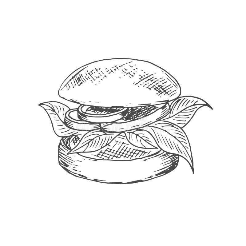 Ejemplo del arte de la hamburguesa del veggie libre illustration