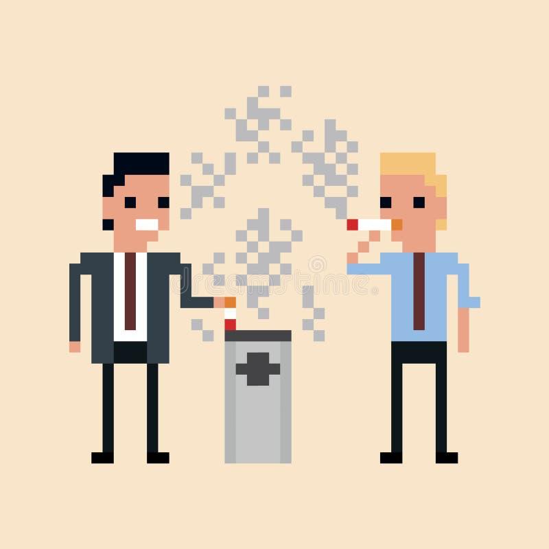 Ejemplo del arte del pixel de fumar de los oficinistas ilustración del vector