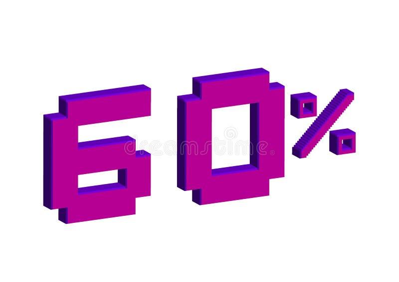 Ejemplo del arte del pixel Venta el 60 por ciento apagado 3D con la venta el 60% de las hojas en el fondo blanco Fondo vendedor ú stock de ilustración