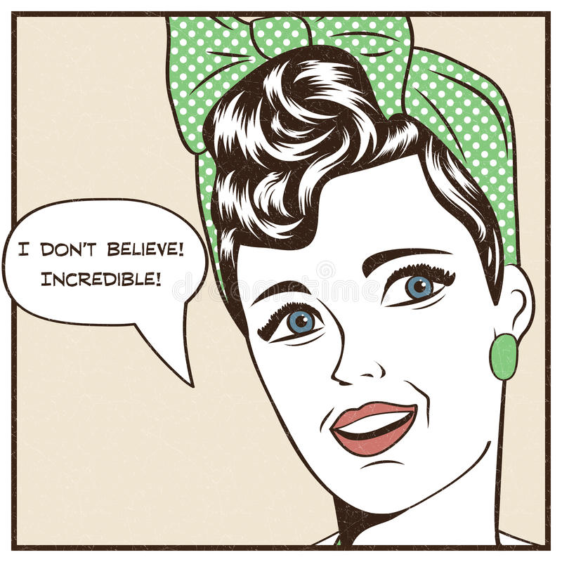 Ejemplo del arte pop de la muchacha con la burbuja del discurso stock de ilustración