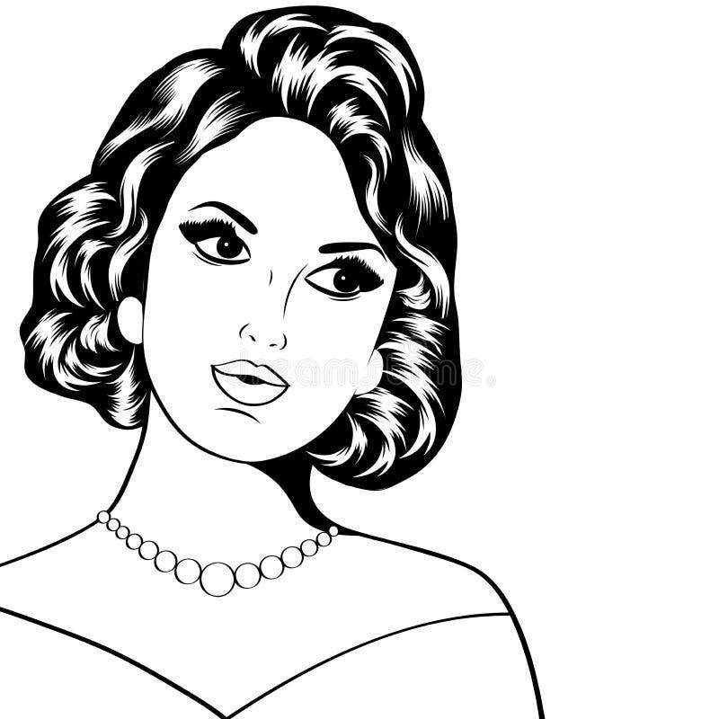 Ejemplo del arte pop de la mujer stock de ilustración