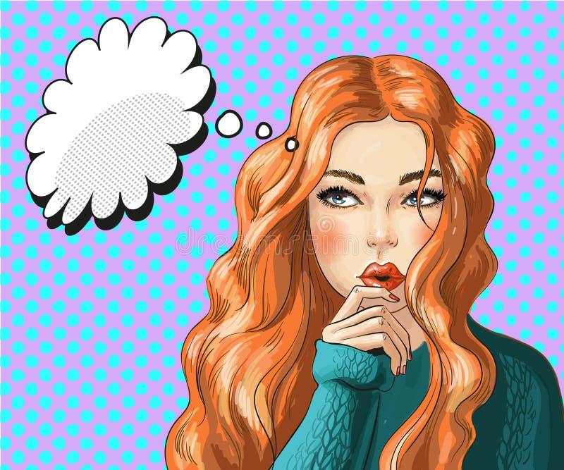 Ejemplo del arte pop del vector de la mujer de pensamiento stock de ilustración