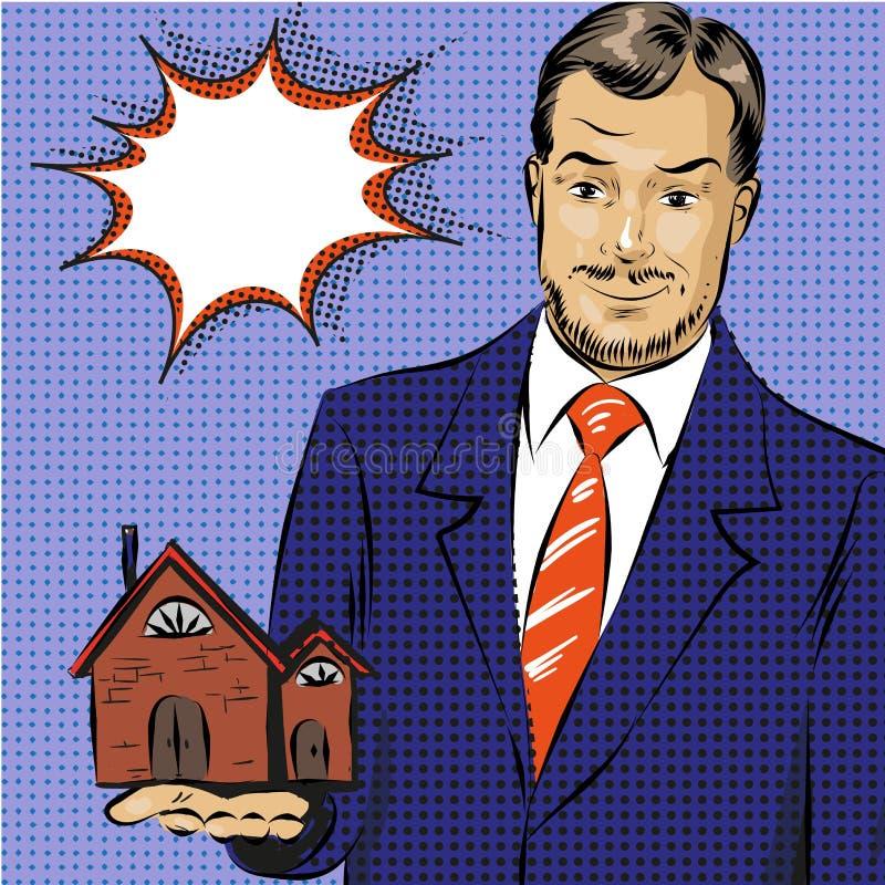 Ejemplo del arte pop del vector del agente inmobiliario ilustración del vector