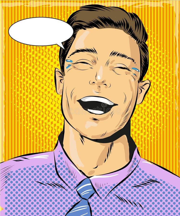 Ejemplo del arte pop del vector del hombre de risa ilustración del vector