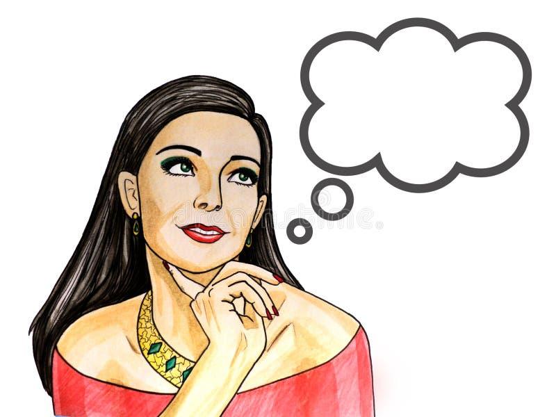 Ejemplo del arte pop pensativamente de la mujer con la burbuja del discurso ilustración del vector