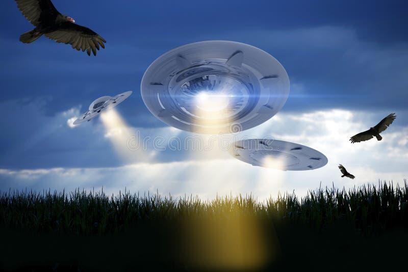 Ejemplo del ataque del UFO imagenes de archivo