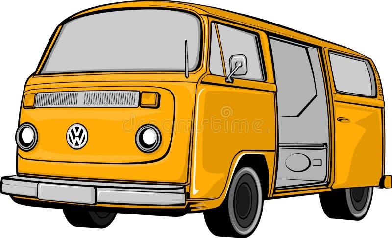 Ejemplo del autobús que acampa o de la autocaravana stock de ilustración