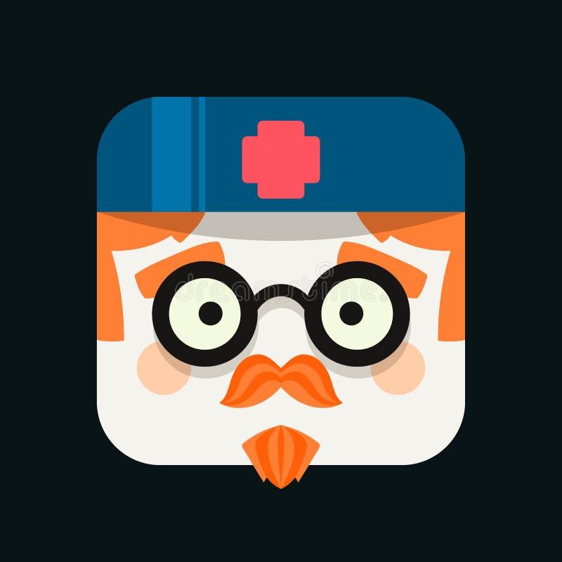 Ejemplo del avatar de la profesión del doctor Icono de moda en estilo plano ilustración del vector