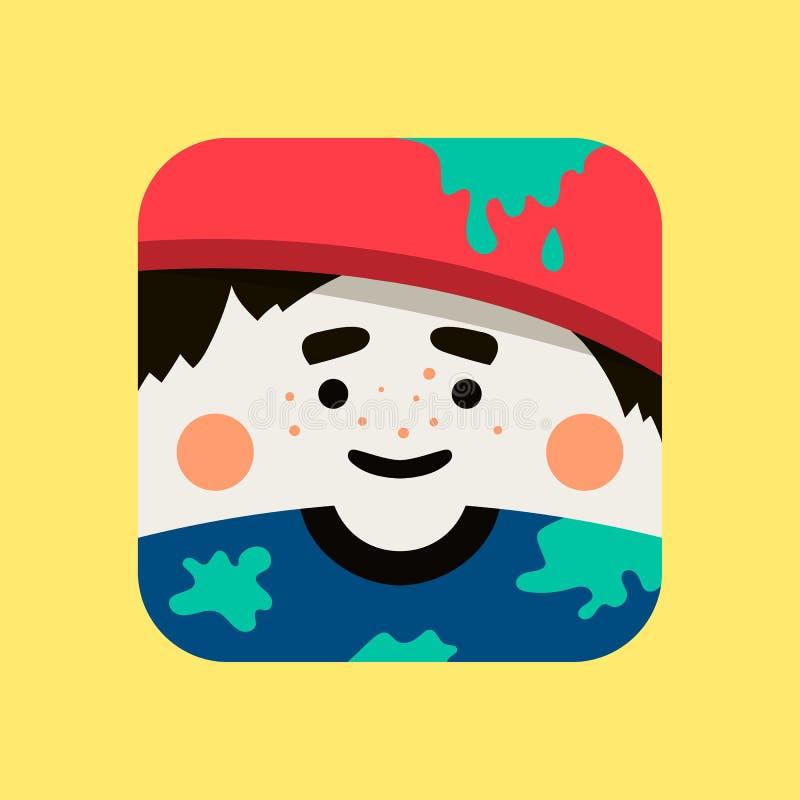 Ejemplo del avatar del artista El pintor de moda ajustó el icono con las sombras en estilo plano stock de ilustración