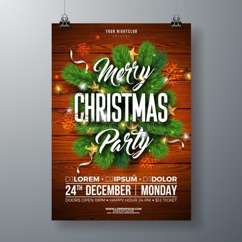 Ejemplo del aviador de la fiesta de Navidad con la rama del pino, la estrella del oro y las letras de la tipografía en el fondo d libre illustration