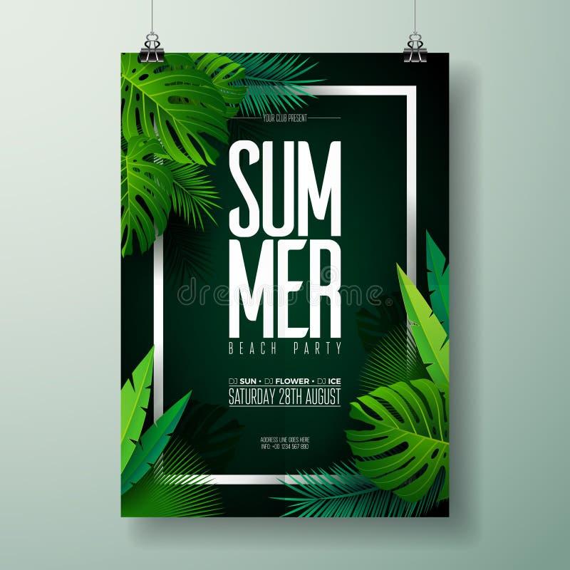 Ejemplo del aviador del partido de la playa del verano del vector con diseño tipográfico en fondo de la naturaleza con las hojas  stock de ilustración