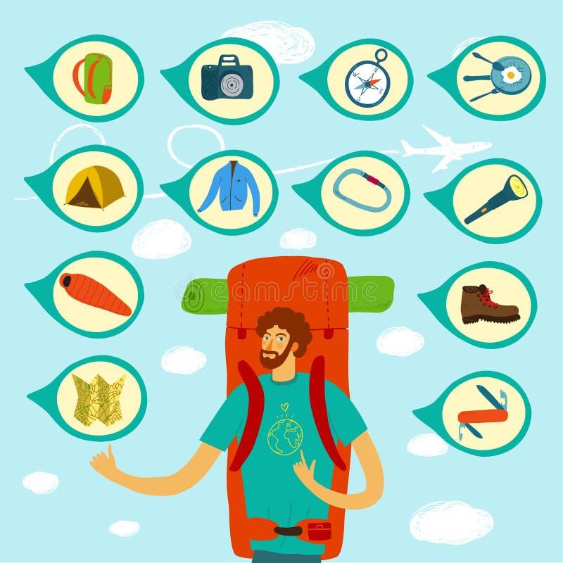 Ejemplo del Backpacker ilustración del vector
