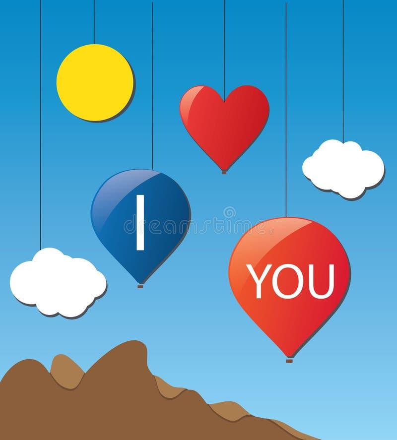Ejemplo del baloon del amor de la nube ilustración del vector