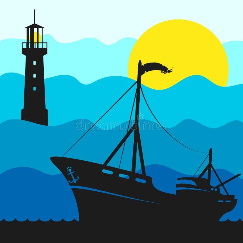 Ejemplo del barco y del faro de pesca stock de ilustración