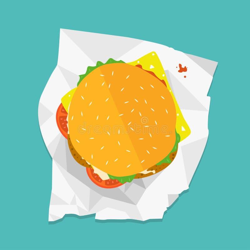 Ejemplo del bocadillo del vector Icono de la comida Hamburguesa con lechuga, queso y tomates libre illustration