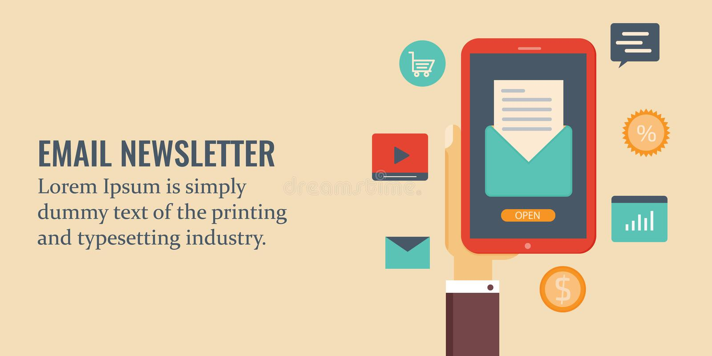 Ejemplo del boletín electrónico, lectura del hombre de negocios en un teléfono elegante, márketing del correo electrónico y conce ilustración del vector