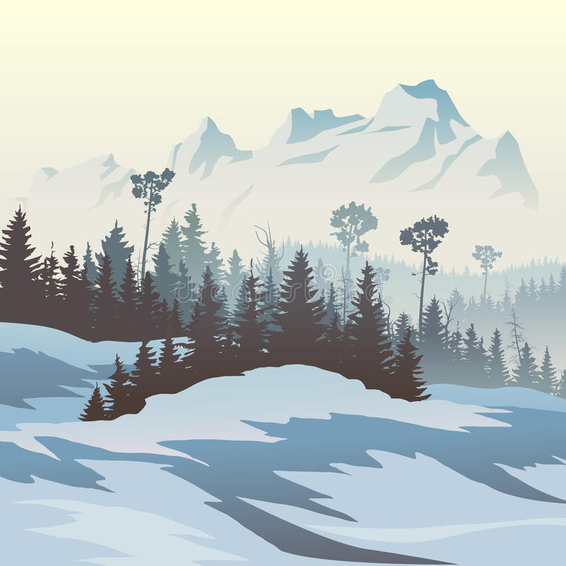 Ejemplo del bosque conífero del invierno con las montañas ilustración del vector