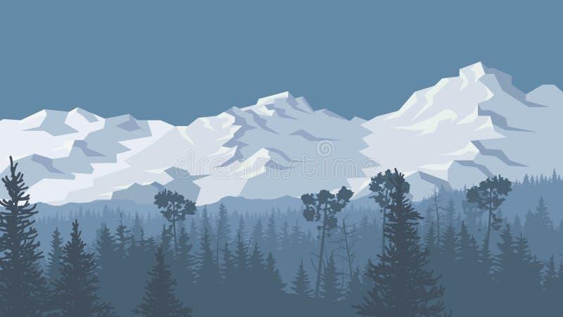 Ejemplo del bosque conífero del invierno con las montañas nevosas stock de ilustración