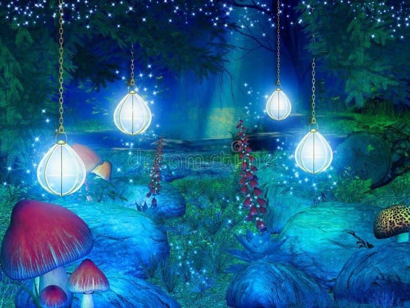 Ejemplo del bosque de la fantasía ilustración del vector