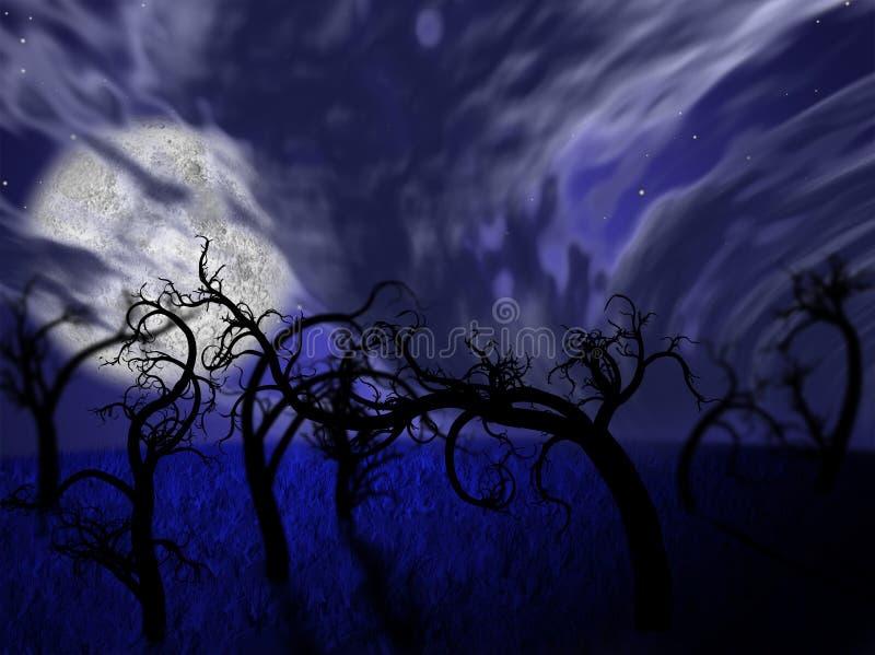 Ejemplo del bosque de la noche con la Luna Llena ilustración del vector