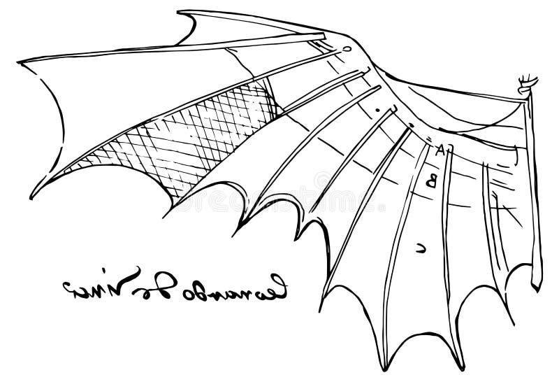 Ejemplo del bosquejo del ala de Leonardo da Vinci stock de ilustración