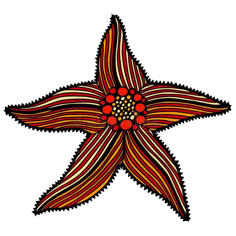 Ejemplo del bosquejo de estrellas de mar stock de ilustración